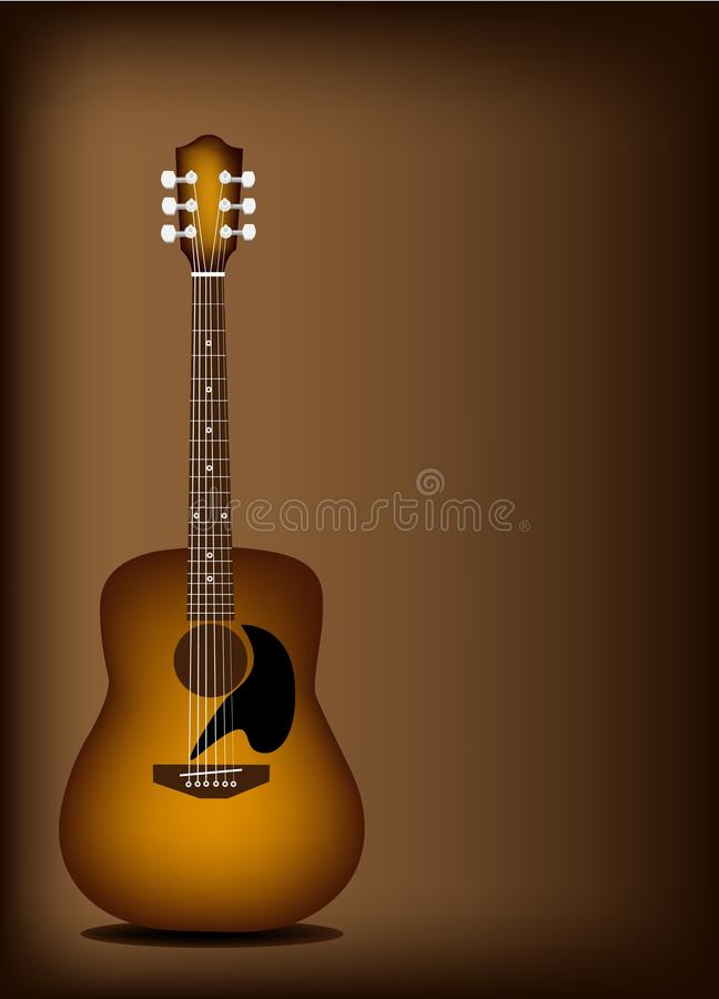 beautiful acoustic guitar on dark brown background stock photo image 30642860. Black Bedroom Furniture Sets. Home Design Ideas