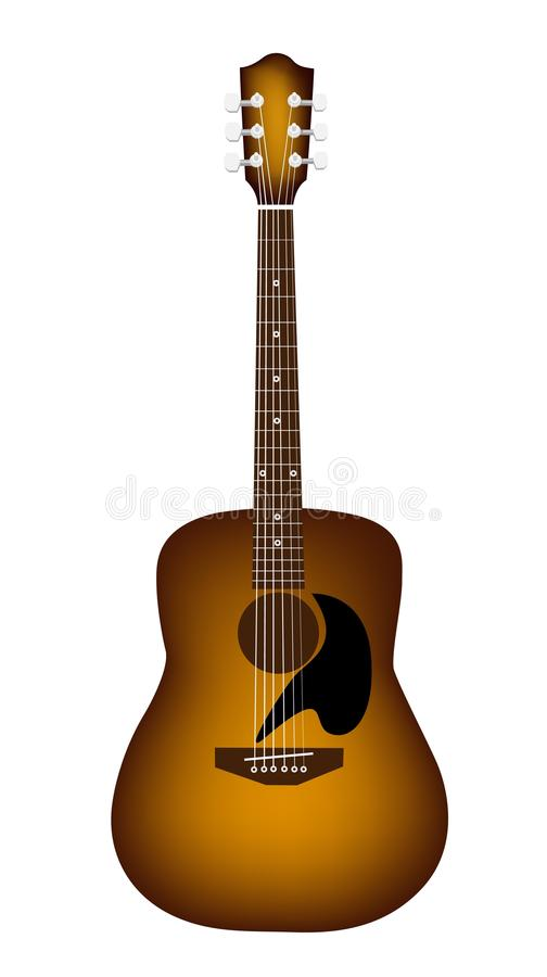 A Beautiful Acoustic Guitar on White Background vector illustration