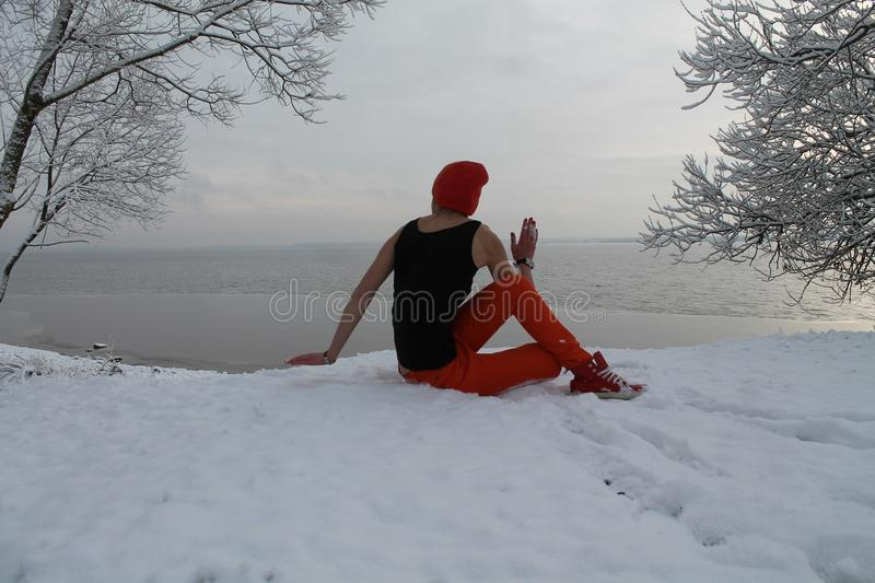 Active woman. Beautiful active flexible woman made yoga class on the nature royalty free stock photos