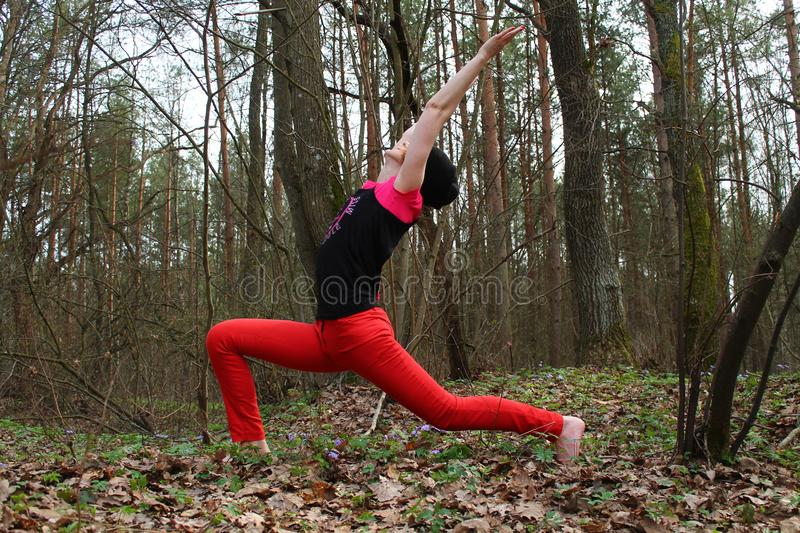 Active woman. Beautiful active flexible woman made yoga class on the nature royalty free stock image