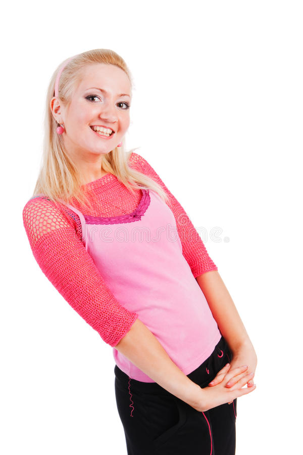 Beautiful adorable smiling girl in pink blouse stock photos