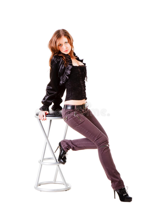 Download Beautiful Adorable Young Girl And Bar Chair Stock Image - Image: 12127267