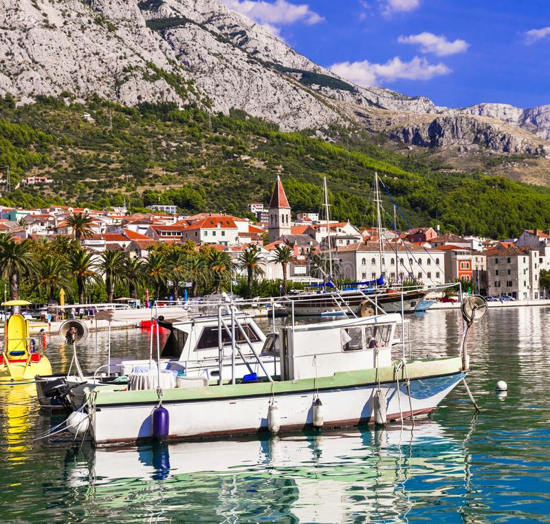 Makarska riviera in Croatia, Makarska town stock photo