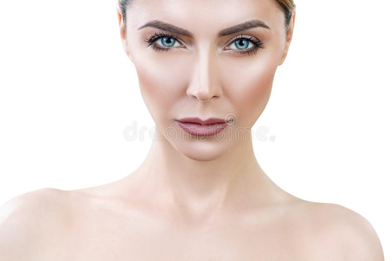 Beautiful adult woman with perfect skin lookin frowning. stock photos