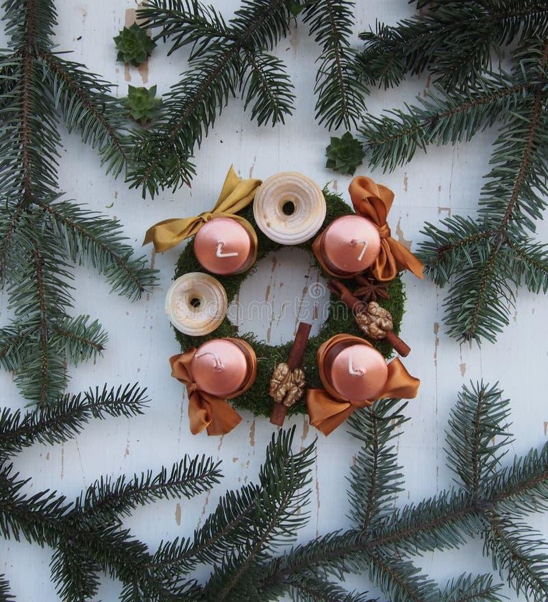 Beautiful Advent wreath. On white backgorund stock photo