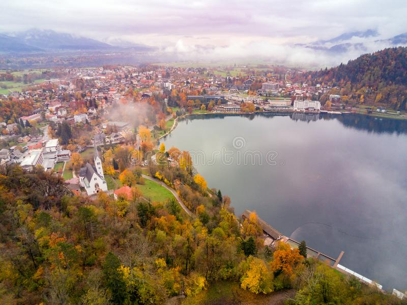 Beautiful aerial autumn landscape around Lake Bled. At Slovenia royalty free stock photo