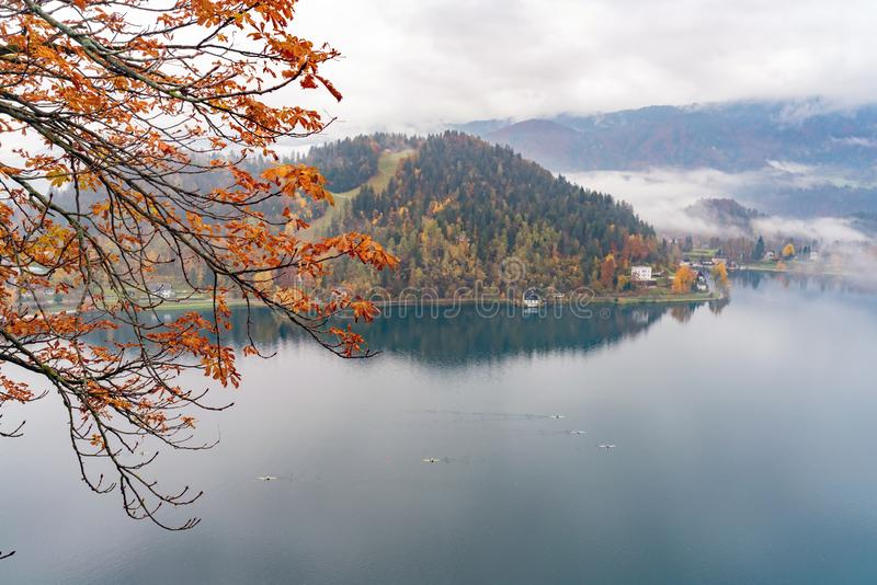 Beautiful aerial autumn landscape around Lake Bled. At Slovenia stock image