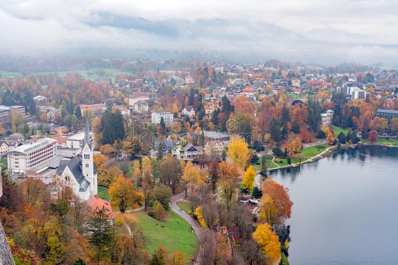 Beautiful aerial autumn landscape around Lake Bled. At Slovenia royalty free stock image