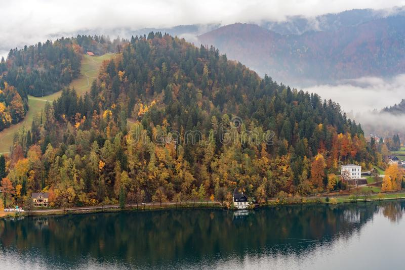 Beautiful aerial autumn landscape around Lake Bled. At Slovenia royalty free stock images