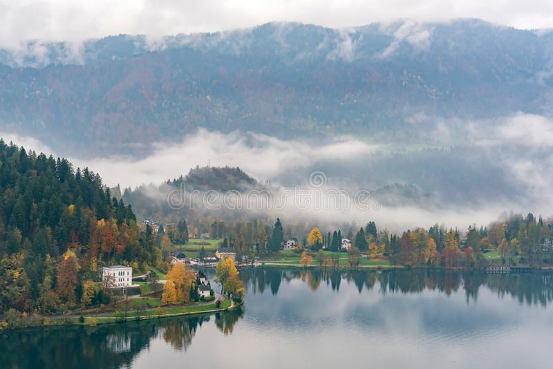 Beautiful aerial autumn landscape around Lake Bled. At Slovenia stock images