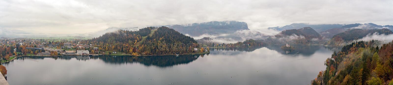 Beautiful aerial autumn landscape around Lake Bled. At Slovenia royalty free stock photography