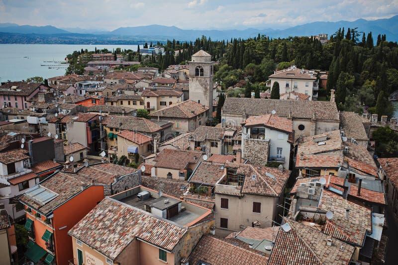 Beautiful aerial city view on Garda Lake, Sirmione, Italy. Beautiful aerial city view from Scaligers Castle on Garda Lake, Sirmione, Italy royalty free stock photos
