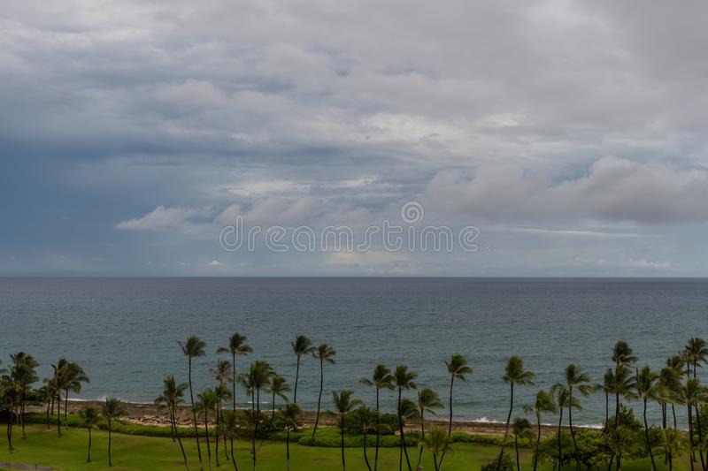 Beautiful aerial coastal rainstorm vista on Oahu stock photo
