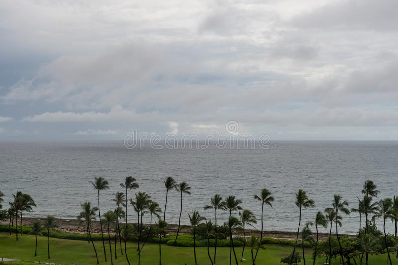 Beautiful aerial coastal rainstorm vista on Oahu stock image
