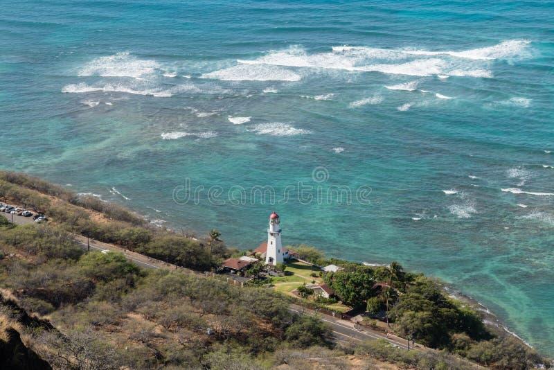 Beautiful aerial Diamond Head Lighthouse vista on Oahu royalty free stock images
