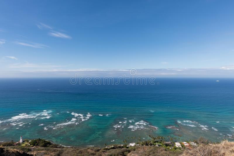 Beautiful aerial Diamond Head Lighthouse vista on Oahu royalty free stock photo