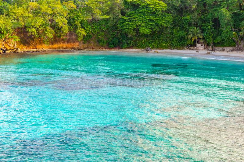 Beautiful aerial/ drone view of scenic tropical island beach summer holiday setting royalty free stock photo