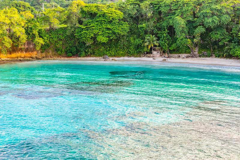 Beautiful aerial/ drone view of scenic tropical island beach summer holiday setting stock images