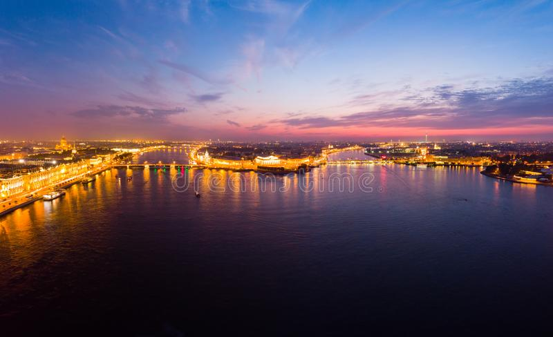 Beautiful aerial evning view in the white nights of St. Petersburg, Russia, The Vasilievskiy Island at sunset, Rostral Columns, stock photos