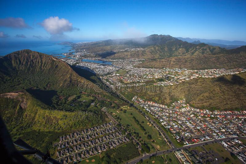 Beautiful Aerial Koko Head Crater with Hawaii Kia and Diamondhead Crater Oahu Hawaii. Hawaii Kai , located on Oahu`s south shore, is the largest of several stock image