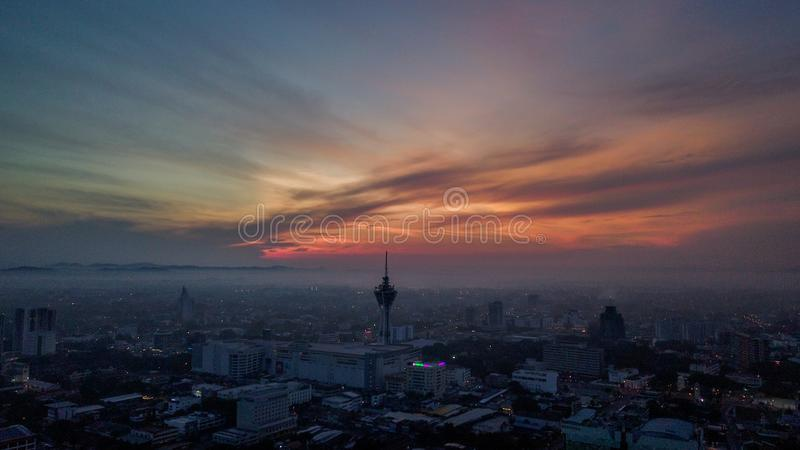 Beautiful aerial landscape of Alor Setar Malaysia. The most famous Alor Setar Tower in Malaysia. Early in the morning stock photo
