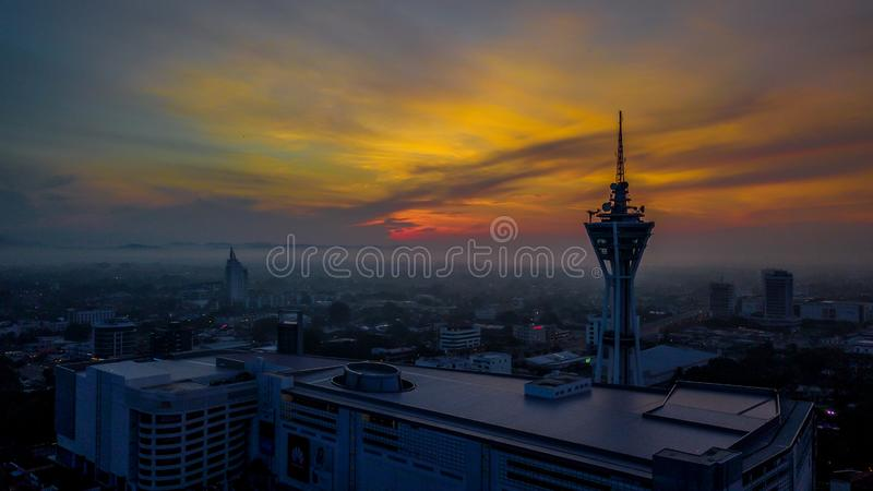 Beautiful aerial landscape of Alor Setar Malaysia. The most famous Alor Setar Tower in Malaysia. Early in the morning stock image
