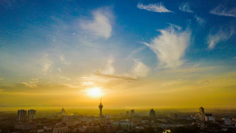 Beautiful aerial landscape of Alor Setar Malaysia. The most famous Alor Setar Tower in Malaysia. Early in the morning royalty free stock photography