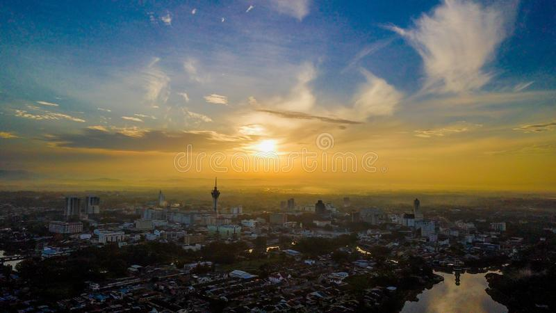 Beautiful aerial landscape of Alor Setar Malaysia. The most famous Alor Setar Tower in Malaysia. Early in the morning royalty free stock photos