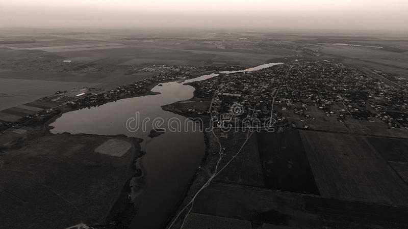 Beautiful aerial landscape at dusk. Black and white photography royalty free stock photos