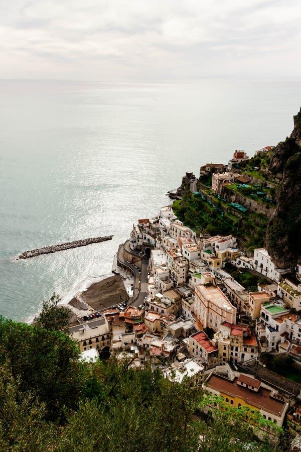 Beautiful aerial landscape view of Atrani from Ravello, Amalfi coast, Italy on natural background. royalty free stock photo