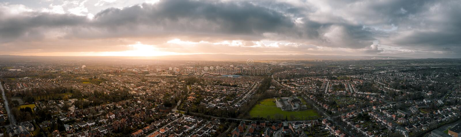 Beautiful Aerial Panorama of Chester at sunset in, Cheshire, UK Christmas Day. Shot on a drone flying above the old roman town of Chester during the cold winter stock images
