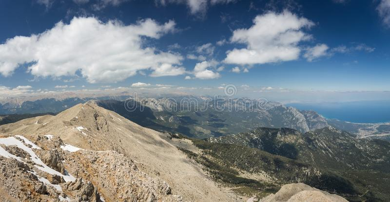 Aerial panorama view from Tahtali Dagi Mountain to Antalya on the Mediterranean Sea in Turkey with nice blue skye with clouds. Beautiful aerial panorama view royalty free stock images