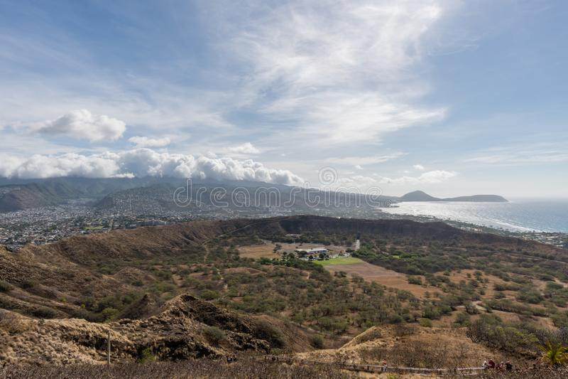Beautiful aerial panoramic view from the top of the Diamond Head mountain on Oahu stock image