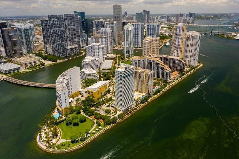 Beautiful aerial photo Brickell Key a luxury residential island in Miami FL USA stock image