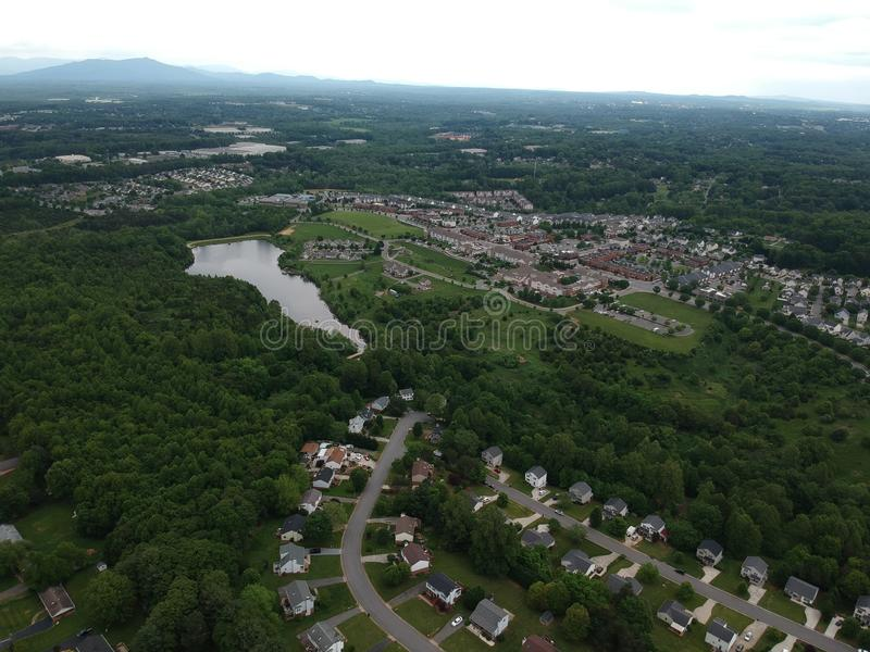 A beautiful aerial photo of a neighborhood stock photo