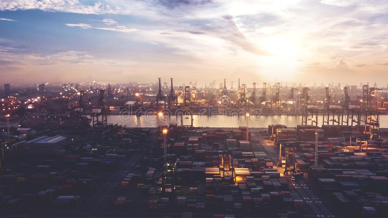 Beautiful aerial sunset view of Tanjung Priok port stock photos