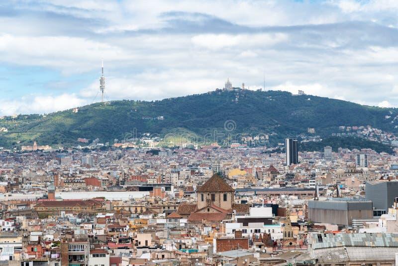 Beautiful aerial view of Barcelona skyline, Spain.  royalty free stock photo