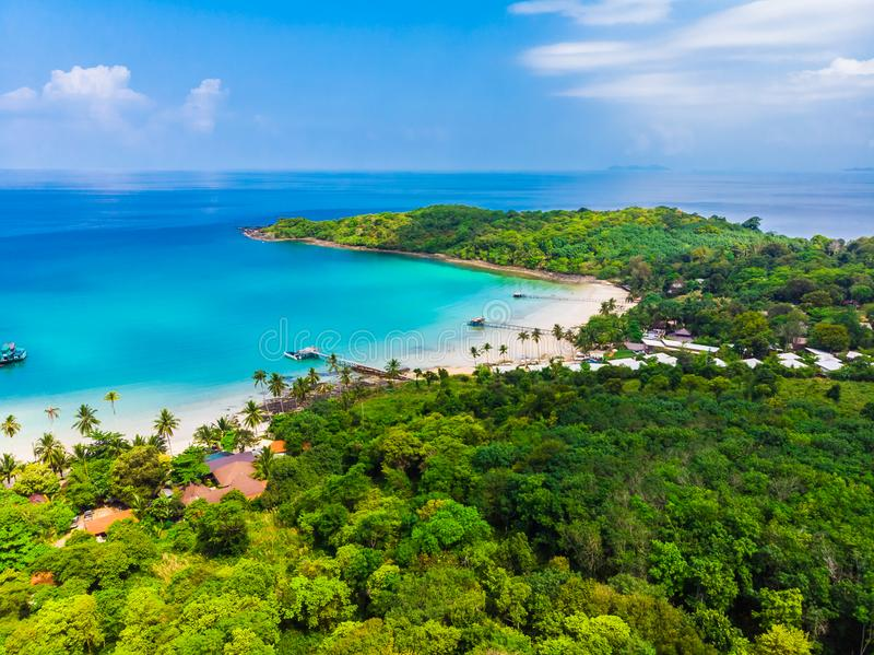 Beautiful Aerial View Of Beach And Sea With Coconut Palm ...