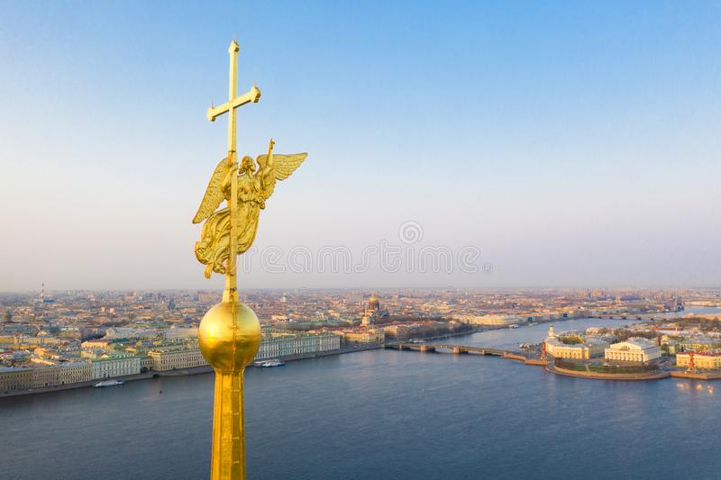 Beautiful aerial view on the center of winter Saint Petersburg city through the Angel of Peter and Paul Cathedral.  stock images