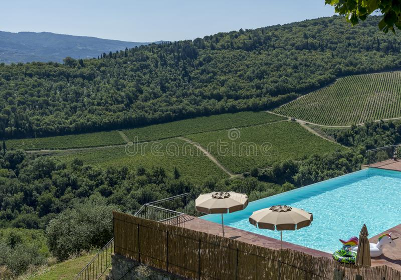 Beautiful aerial view of the Chianti vineyards between the provinces of Siena and Florence, Tuscany, Italy royalty free stock photo