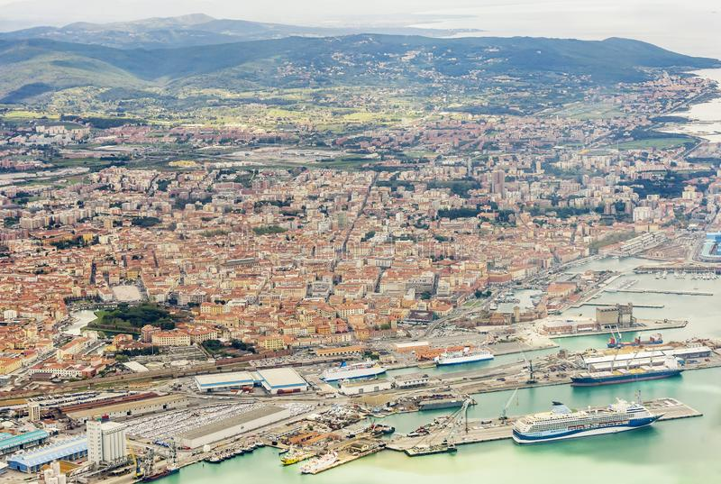 Beautiful aerial view of the commercial port and the city of Livorno, Tuscany, Italy royalty free stock photography