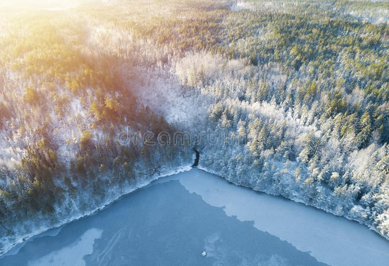 Beautiful aerial view from drone of winter landscape with forest, snow, frozen lake and river. Rime ice and hoar frost covering tr royalty free stock photography
