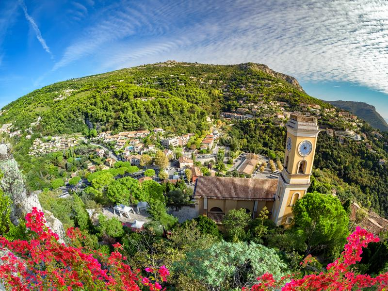 Aerial view of Eze village and the surroundings, France royalty free stock images