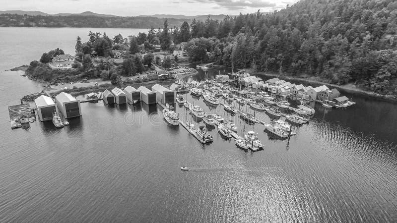 Beautiful aerial view of Genoa Bay in British Columbia, Canada.  stock photos