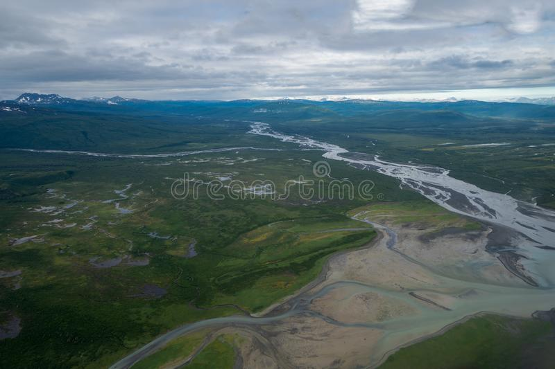 Beautiful aerial view of Katmai National Park. Braided river and untouched wilderness, and mountains in Alaska royalty free stock photos