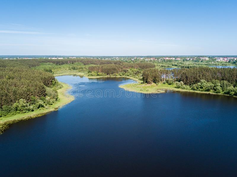 Beautiful aerial view of lake and forest district. Belarus is th. E country of blue lakes stock images