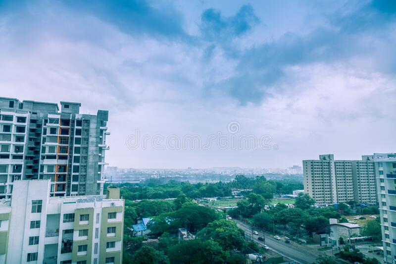 Beautiful aerial view landscape of green Pune city, Maharashtra, India. Rainy and cloudy weather with beautiful aerial view landscape of green Pune city stock image