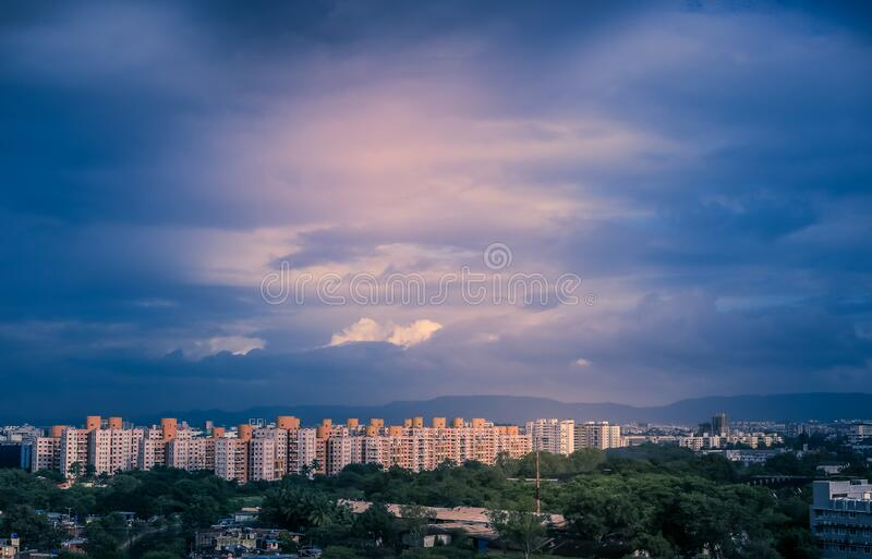 Beautiful aerial view landscape of green Pune city, Maharashtra, India. With some text or copy spaces on sky background stock images