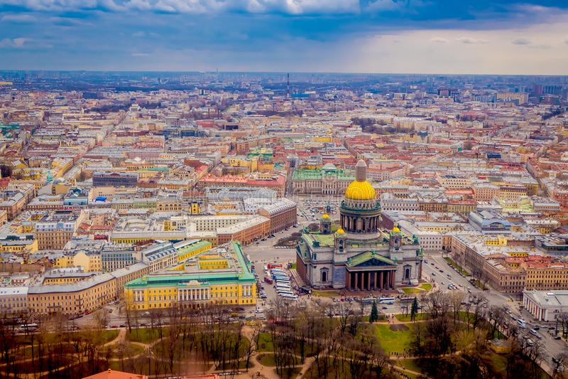 Beautiful aerial view landscape of Saint Isaac`s Cathedral surrounding of buildings of the city of St. Petersburg. Durring a sunny day in Russia stock photo