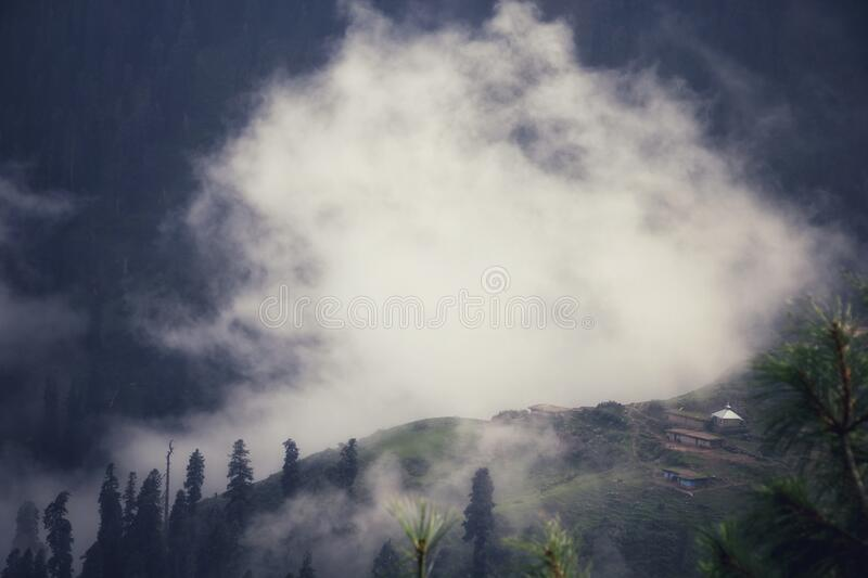 Beautiful aerial view misty landscape of Azad Kashmir, Pakistan. Beautiful aerial view misty landscape of Rawalakot, Azad Kashmir, Pakistan royalty free stock images